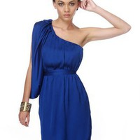 Birthstone One Shoulder Blue Dress