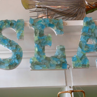 "Beach Decor Seaglass letters- ""SEA"""