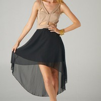 Colorblock Cut Out Sleeveless Dress with Hi-Lo Hemline