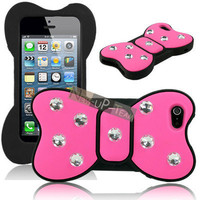 Bling Reshinestone Hot Pink 3D Cute Bowknot Silicone Case Cover For iphone 5 5G