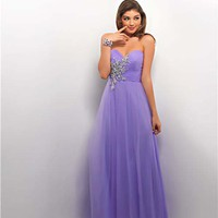 Lilac Tulle Strapless Sweetheart Prom Gown - Unique Vintage - Homecoming Dresses, Pinup & Prom Dresses.