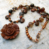 Brown chunky necklace Boho stone necklace Fall Autumn sweater necklace Fall jewelry fashion