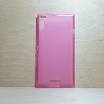 For Sony Xperia T3 Soft TPU translucent Color Case Protective Silicone Back Case Cover - Pink