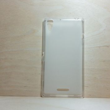 For Sony Xperia T3 Soft TPU translucent Color Case Protective Silicone Back Case Cover - White