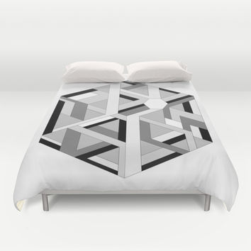 Hexagon monochrome Duvet Cover by EDrawings38
