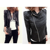 Punk Power Shoulder Jacket Women Punk Motorcycle Zip Up Windbreaker Raincoat