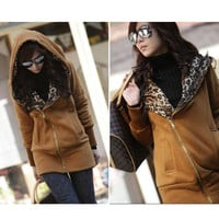 Korea Ladies Leopard Hoodie Fleece Zip Winter Sweatshirt Jacket Coat Top 8 10 12