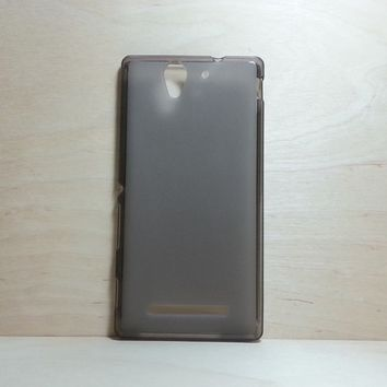 For Sony Xperia C3 Soft TPU translucent Color Case Protective Silicone Back Case Cover - Grey