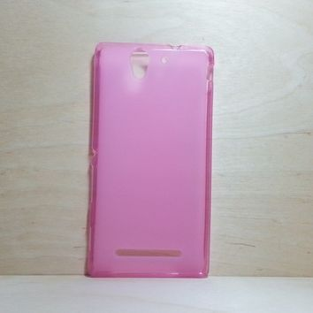 For Sony Xperia C3 Soft TPU translucent Color Case Protective Silicone Back Case Cover - Pink