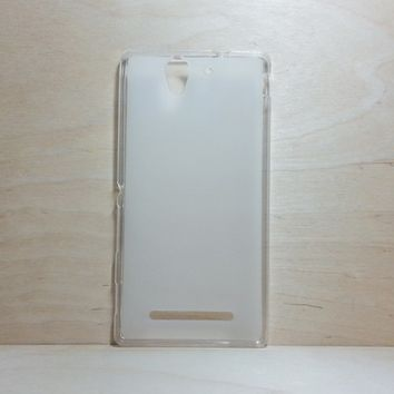 For Sony Xperia C3 Soft TPU translucent Color Case Protective Silicone Back Case Cover - White