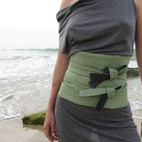 ON SALE Obi Corset Belt Denim and Cotton by duende74 on Etsy