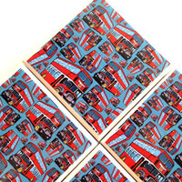 Double Decker Bus Coasters, Ceramic Tile Set, London Sight Seeing, European, Table Protection