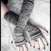 Arm Warmers - Dark Charcoal Steel Grey White Striped Sweater Knit
