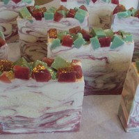 Christmas Cabin / Shea Butter, Mowrah Butter and Pure Silk Soap Slice  / cold process soap / Ready Nov 26th