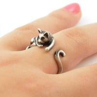 Silver Lazy Cat Wrap Ring - IN STOCK