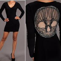 Skeleton Face Mesh Halloween Dress  Sizes M , L