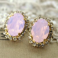 Pink blush Crystal big oval stud earring - 14k plated gold post earrings real swarovski rhinestones .