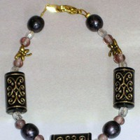 Gold Dragonflies and Black, Gold, Pink, and Gray Bead Bracelet