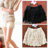 S0BZ NEW Girl Lace Tiered Short Skirt Under Safety Pants Shorts Sexy 2 Colors