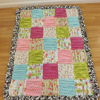 Ruffled Patchwork Blanket---MADE to ORDER---Toddler Blanket---You choose the fabric--