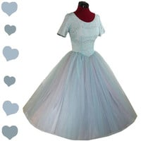 Dress Vintage 50s Blue TULLE Cupcake Lace PROM Party Dress XS Full Skirt Bridal Floral
