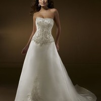 Chic A Line Strapless Court Train Satin Sleeveless Wedding Dress-$376.99-ReliableTrustStore.com