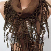 Super Elegant  Scarf  It made with good quality  PASHMINA  fabric ...Brown Scarf