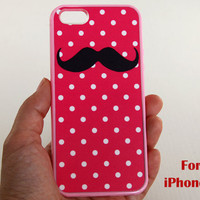 iPhone 5 Case, mustache iphone 5 case, pink dot iphone 5 case, Pink iphone 5 case, case for iphone 5