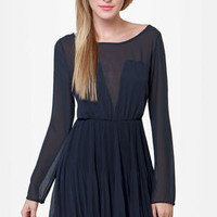 Come On Over Pleated Navy Blue Dress