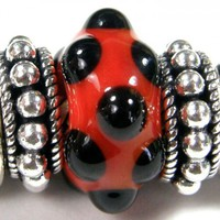 Red Orange Handmade Large Hole Lampwork Slider Bead With Black Dots