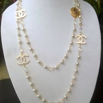 """Gorgeous Classy 60"""" Designer Inspired Pearl & Crystal Necklace"""
