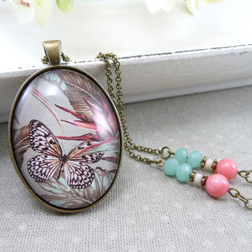 Butterfly Necklace Glass Photo Pendant Necklace, Pink Aqua Blue Tropical Print Glass Picture Jewelry, Necklace Glass Pendant Photo Barkcloth