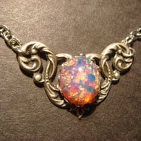 Victorian Style Fire Opal Necklace in Antique Silver (588)