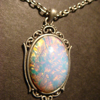 Victorian Style Fire Opal Necklace in Antique Silver (589)