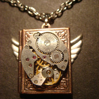 Steampunk Neo Victorian Watch Movement LOCKET Necklace with Wings (590)