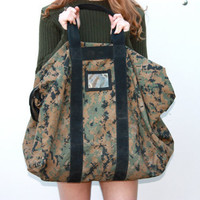 Vintage Camouflage Military Issue Duffle Bag