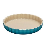 Le Creuset Stoneware Fluted Flan Dish Caribbean Blue 24cm - Free shipping over $100