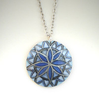 Mandala Necklace, Blue Mandala Pendant  -  Modern Fashion Hand Painted Jewelry