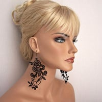 Wisteria lace earrings black short version
