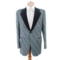 Vintage 70s Tuxedo Jacket Wide Lapel Blue Beige Polyester 42 Long