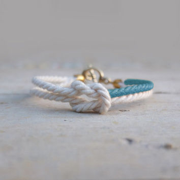 Friendship bracelet white and blue cord / marine knot bracelet / bridesmaids gifts - MANEGE