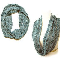 Trendy Women's Accessory - Blue Crochet Lacy Cowl with sequins