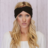 Black Turban Headband Cotton Spandex Workout Hair Bands (T02)