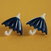 Navy Blue Rainy Day Umbrella Stud Earrings by TeaAndLaundry