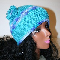 Crochet Cap Bright Blue Variegated Stripe Yarn Flower Handmade