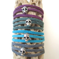 Sugar Skull. Leather. Wrap Bracelet. Suede. Silver Skull. Skull Bracelet. Choose Your Color.