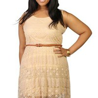 plus size all over lace high low dress with braided belt - debshops.com