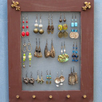 JEWELRY DISPLAY RACK brwon Shabby Chic / 25 - 40 Earrings / 20 - 30 Necklaces