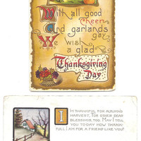 2 Vintage Thanksgiving Day Postcards, Pumkins, turkey great for scrapbooking and card making