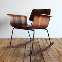 Molded plywood rocker &quot;Roxy&quot; chair: Walnut/leather
